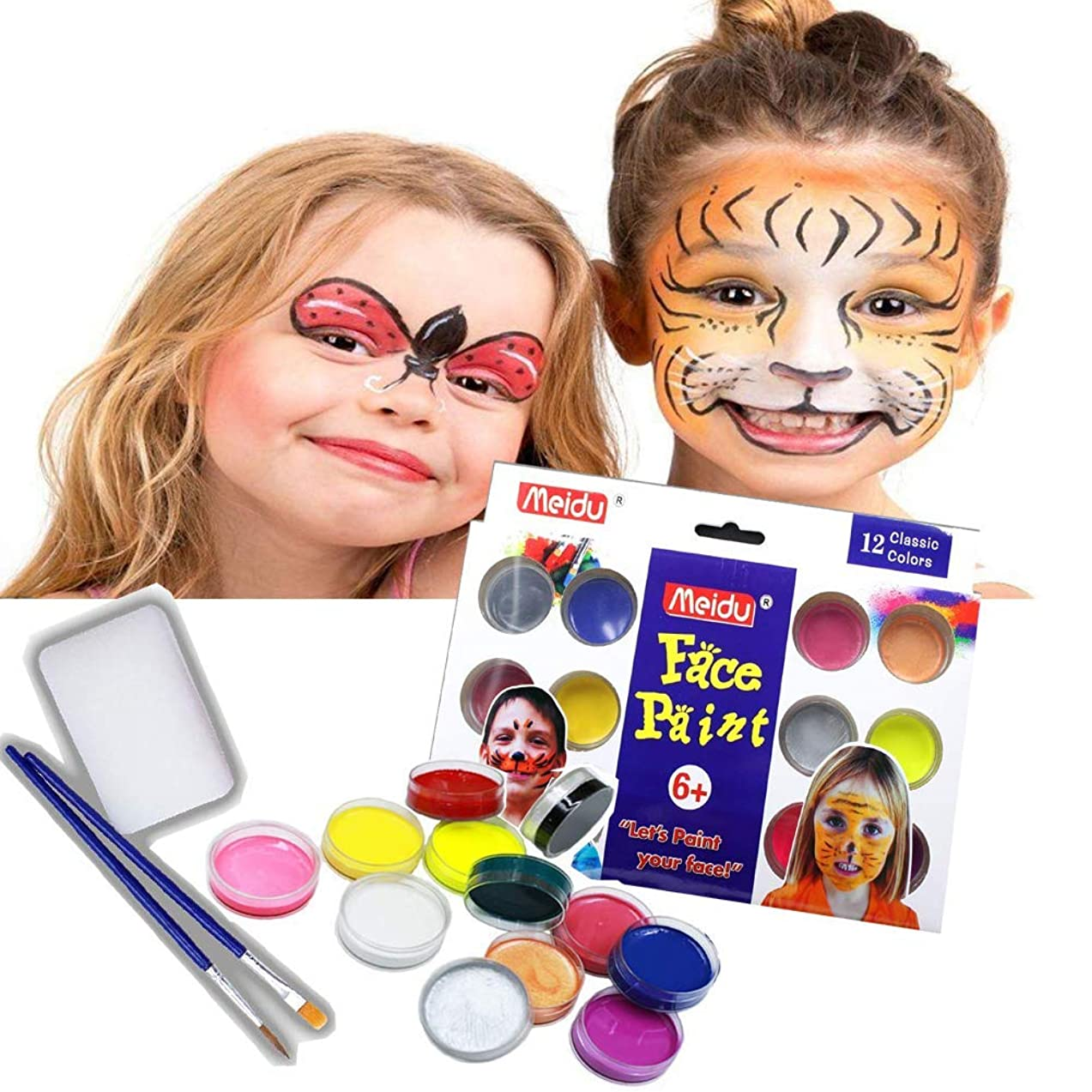Face Paint Kit for Kids by Meidu - 12 Vibrant Colors & 2 Brush for Halloween No Skin Damage,Certified-Safe for Kid's Skin & Easy to Painting and Washing Professional Paint