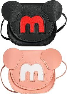 SOTOGO 2 Pieces Little Girls Crossbody Purses Toddler Mini Cute Princess Handbags Shoulder Messenger Bag, Mouse Style
