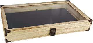 Mooca Oak Color Wooden Tempered Glass Jewelry Display Case with Black Velvet Pad