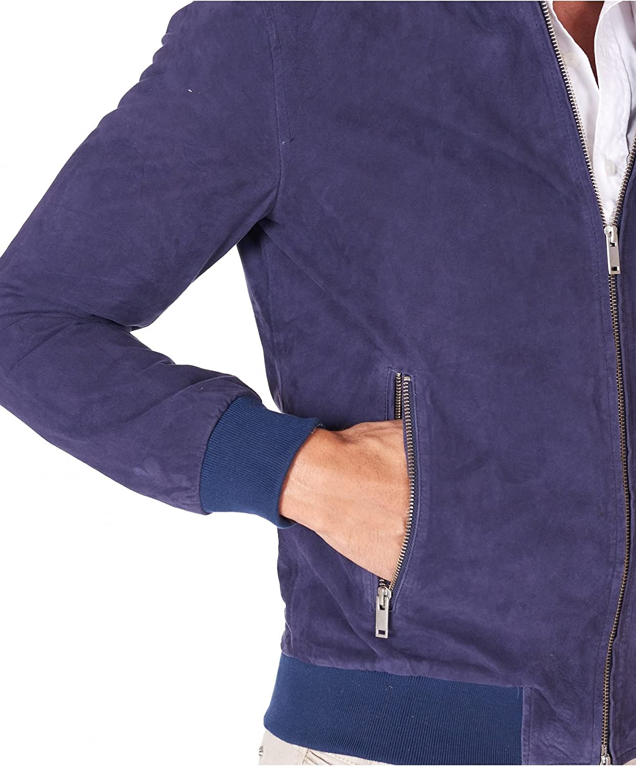 Blue suede leather bomber jacket two pockets