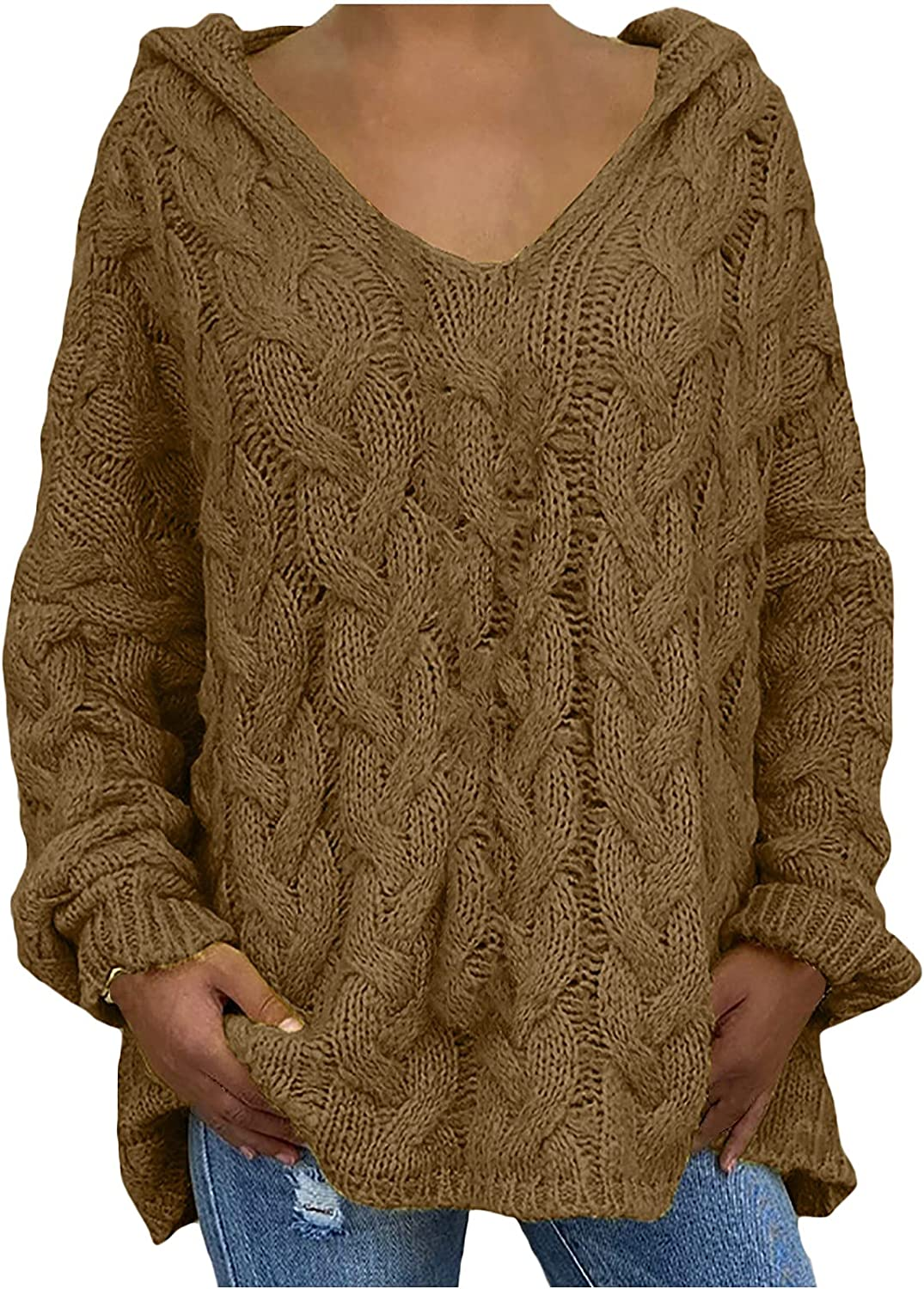 Womens Sweaters Fall,Fashion Solid Color V-Neck Knitted Hooded Tops Sexy Hollow Out Pullover Fall Ladies Long Sleeve Blouse
