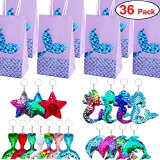 Danirora Mermaid Keychains and Bags, [36 Pack]Mermaid Party Favors for Kids Birthday Party Supplies Party Gift Bags Goodie Bag Fillers Prize for 18 Girls