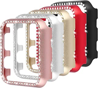 Coobes Compatible with Apple Watch Case 38mm 42mm, Metal Bumper Protective Cover Women Bling Diamond Crystal Rhinestone Shiny Compatible iWatch Series 3/2/1 (Diamond-5 Color Pack, 38mm)