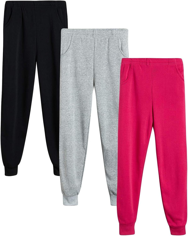 Coney Island Girls' Sweatpants - Active Fleece Joggers (3 Pack)