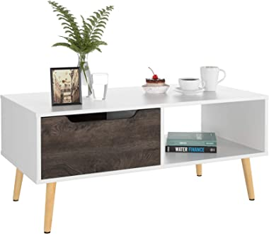 Homfa Coffee Tables for Living Room TV Stand, Entertainment Tea Sofa Table Side Table 2 Tier with Storage Shelf and 1 Drawer, Modern Furniture for Home Office, White