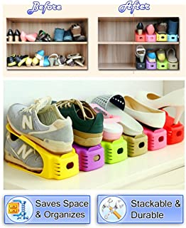 5starsuperdeals Shoe Storage Slot Closet Organizer Space Saver Rack Shoe Storage, Colorful Shoes Slot Holder, Set of 8 (Multi)