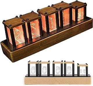 HTDHS LED Nixie Clock、6つの表示モードでグローデジタルチューブクロック、1,600万色のNixieチューブクロック5レベルの明るさ調整、シンプルな組み立て、ハードメープル