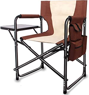 Portable Folding Directors Chair - Full Back Camping Chair with Side Table and Storage Pouch Lightweight Aluminum Heavy Duty Comfort Sturdy Supports 300lbs Outdoor
