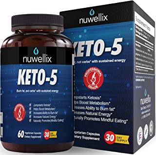 Nuwellix Keto 5 Diet Pills for Men and Women - Advanced Ketogenic Supplement with Green Tea - Promotes Fat Burn - Helps in Fast Weight Loss - 60 Vegetarian Capsules