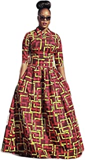 Womens African Print Dashiki Dress Long Fit and Flare Crop Top Skirt Outfits Maxi Dress with Pockets