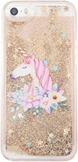 uCOLOR iPhone 5S Case,iPhone 5 Case, iPhone SE Case Gold Glitter Floral Unicorn Waterfall Hard Cover Clear Case for iPhone SE/5S/5