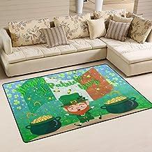 Doormat Saint Patrick's Day Shamrock Clover 31x20 inch Welcome Holiday Floormat, Leprechaun Gold Coin Outdoor Indoor Non S...