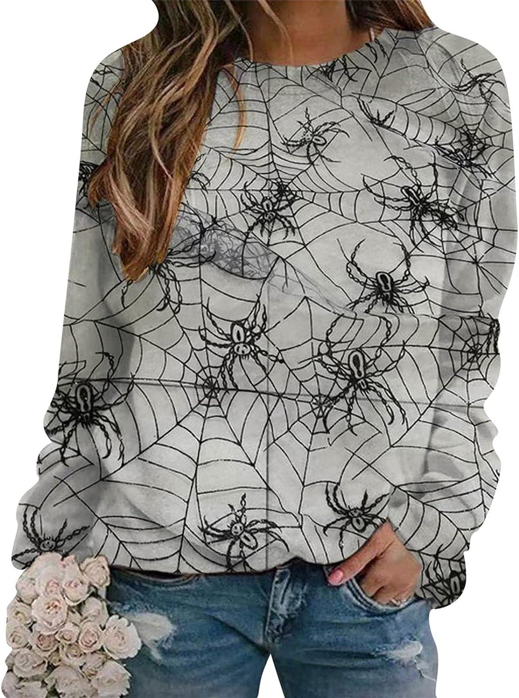 Jaqqra Halloween Sweatshirts for Women, Women's Long Sleeve Crewneck Sweatshirt Cat Print Cute Pullover Tops Sweater