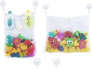 Bath Toy Storage Organizer Baby Bathtub Toy Holder, 2 Mesh Net + 6 Anti-Slip Hooks, Bathroom Storage Shower Shampoo Soap O...
