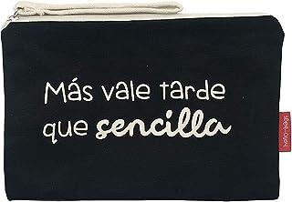 Hello-Bags - Neceser de Algodón con Cremallera y Forro Interior, 23 cm, Negro