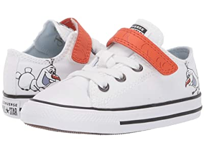 Converse Kids Chuck Taylor(r) All Star(r) 1V Frozen Collection (Infant/Toddler) ((Ox) White/Illusion Blue) Girl