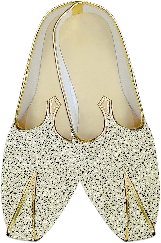 INMONARCH Herren Creme Hochzeit Schuhe Bedruckte Baumwolle MJ015976