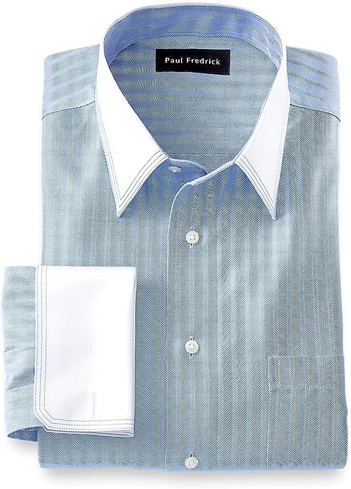 Paul Fredrick Men's Tailored Fit Non-Iron Cotton Herringbone Solid Dress Shirt