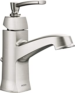 Moen WS84923 Conway One-Handle Single Hole or Centerset Bathroom Faucet with Drain Assembly, Spot Resist Brushed Nickel
