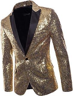 Prettyia Men Tuxedo Suit Gentleman One Button V Neck Dance Glitter Sequin Coat Blazer Jacket