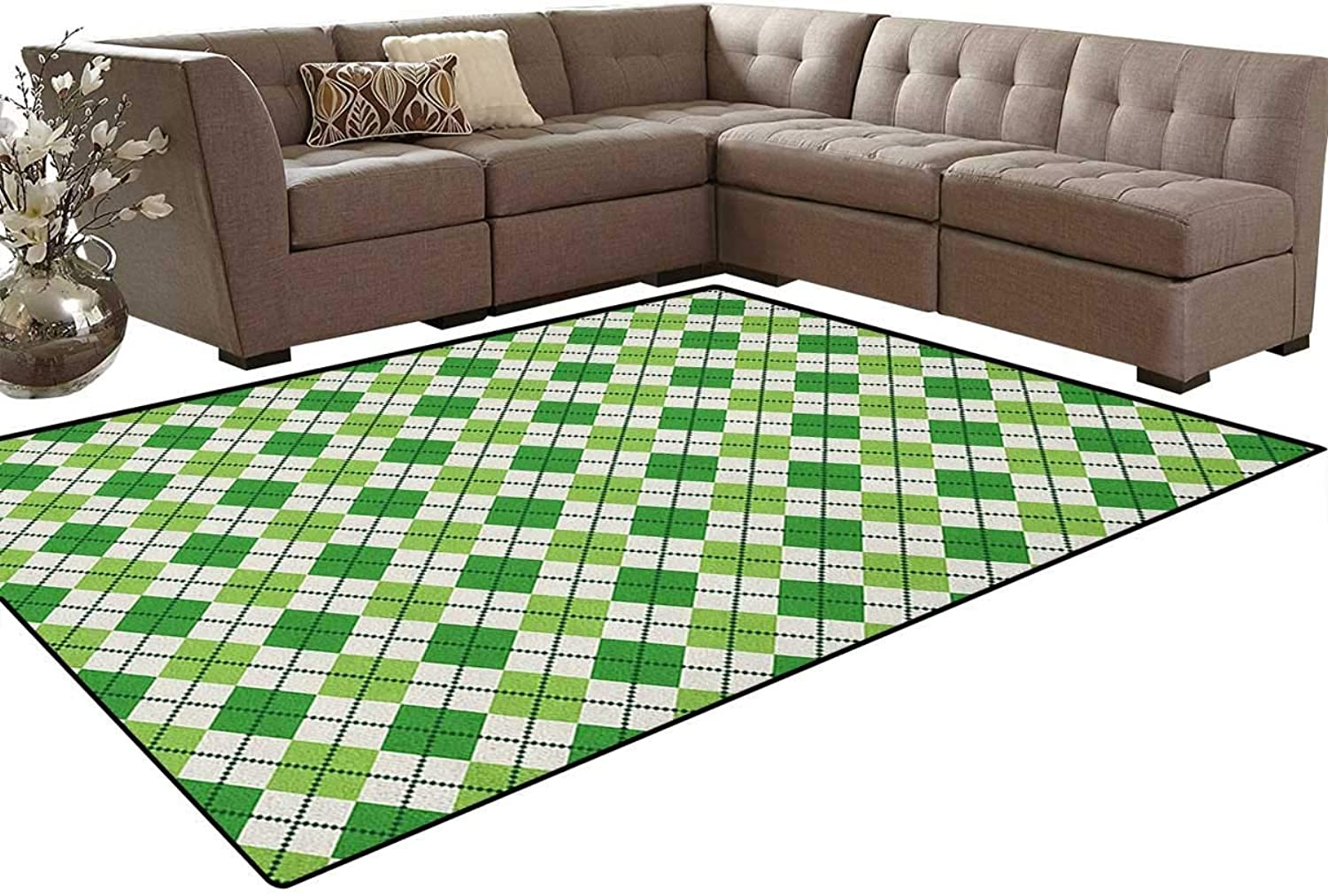 Classical Argyle Diamond Line Pattern with Crosswise Lines Old Fashioned Floor Mat Rug Indoor Front Door Kitchen and Living Room Bedroom Mats Rubber Non Slip
