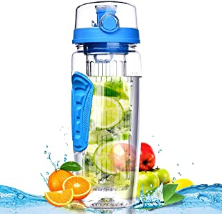 zzy Sport Fruit Infuser Water Bottle, Flip Top Lid & Dual Anti-Slip Grips, BPA Free Infuser Water Bottle, Free Recipes and A Cleaning Brush Gifts, Ideal for Your Office and Home