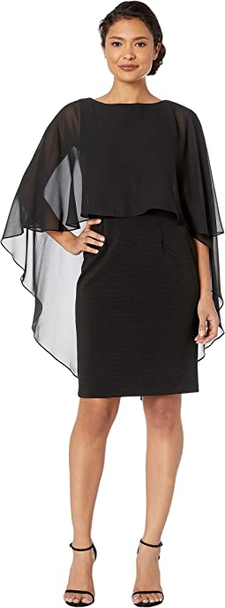 Daphne Ottoman Sheath Dress w/ Cascading Chiffon High-Low Cape