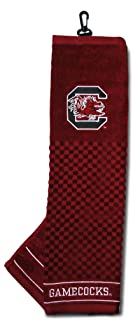Team Golf NCAA Embroidered Golf Towel, Checkered Scrubber Design, Embroidered Logo