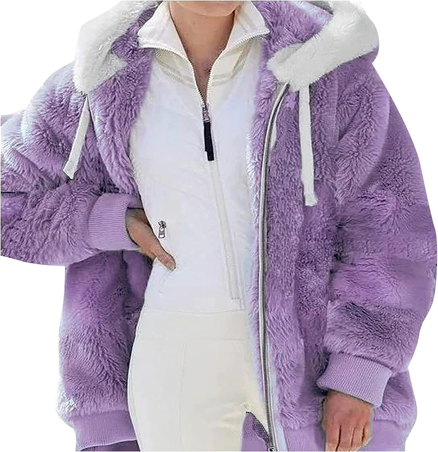 Women's Winter Faux Fur Coat Plus Size Solid Color Full-zip Hooded Tops Oversized Plush Jacket Loose Pocket Outerwear