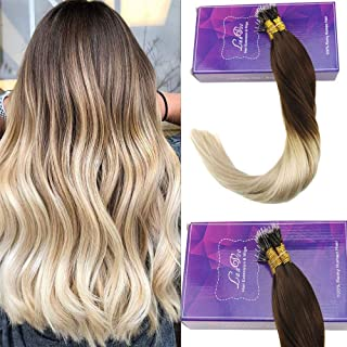 LaaVoo 20 Inches #4T613 Dark Brown to Bleach Blonde Nano Tip Brazilian Straight Human Hair Remy Nano Ring Ombre Natural Hair Total 50 Strands