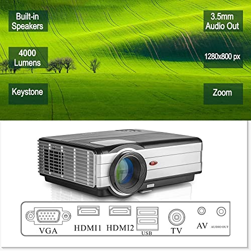 HD HDMI 1080P LCD LED Home Movie Gaming Projector with HDMI USB VGA AV Audio Speakers for iPhone iPad Mac Tablet DVD PS4 TV Laptop,Keystone Zoom Function for Front/Rear/Ceiling Indoor Outdoor Cinema