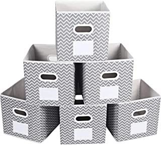 MAX Houser Storage Bins Cubes Baskets Containers with Dual Handles for Home Closet Bedroom Drawers Organizers, Foldable, Grey Chevron,10.5x10.5x11 Inches, Set of 6