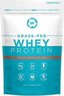 Grass Fed Whey Protein Chocolate 5 Serving Trial Size - 100% Pure and Natural - 5 Servings - 24g Protein - Cold Processed Undenatured - Non-GMO - rBGH-Free - High Quality from Happy Healthy Cows USA