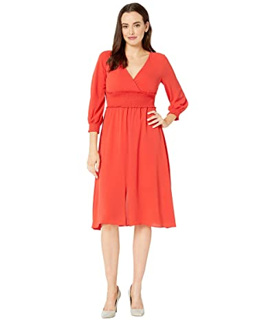 Adrianna Papell Smocked Midi 3/4 Sleeve Dress (Burnt Orange) Women