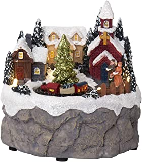 Senza marca Trainville - Scena natalizia a LED, in plastica, multicolore, ca. 12 x 12 cm