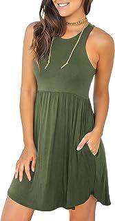 Mafulus Womens Summer Sleeveless Mini Dresses Casual Racerback Short Tank Dress with Pockets