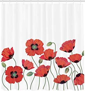 """Ambesonne Floral Shower Curtain, Poppy Flowers in Garden Fresh Plant Idyllic Nature Fragrance Theme Print, Cloth Fabric Bathroom Decor Set with Hooks, 84"""" Extra Long, Orange and Green"""