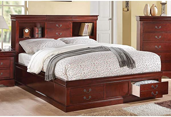 Acme Louis Philippe III Queen Bed With Storage Cherry