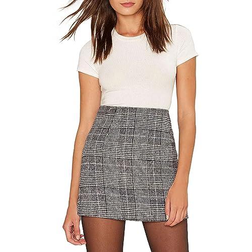 Haijie Women's High Waist Plaid A-line Mini Bodycon Skirt.
