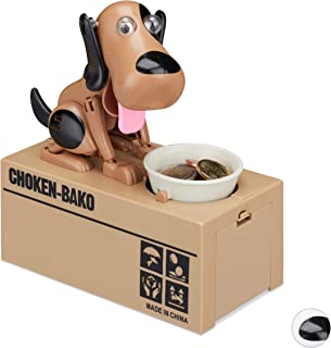 Relaxdays Hucha Infantil Perro traga Monedas, plástico, marrón-Negro, 16 x 16,5 x 8 cm, Color (10024272_469