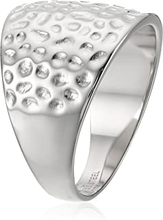 Women's Stainless Steel Hammered Texture Ring