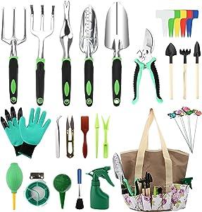 Defabee Garden Tools Set, Succulent Tools Set, Heavy Duty Aluminum Outdoor Gardening Kit, Ergonomic Handle Tools with Durable Storage Tote Bag, Garden Gifts for Men Women(Green)
