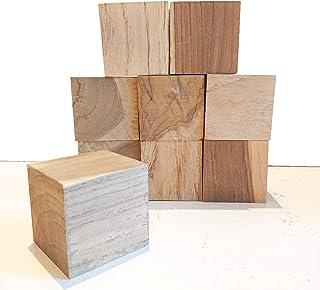 【送料無料】DIY木材 チーク系ブロック材 9ピース 角材 正方形 キューブ ディスプレイ 展示台 ブロック 積み木 ペン立て カード立て 6㎝×6㎝×6㎝【ワールドデコズ】