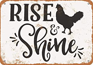 Rise and Shine, Rooster Vintage Look Aluminum Metal Sign Retro Wall Art Decoration for Garage Office Bar Pub Store 8 x 12