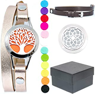 NV Originals Essential Oil Bracelet Diffuser Set with Gift Box (2 leather bands, 2 faces and 12 colored pads) - Anxiety Bracelet - Yoga Bracelet - Aromatherapy On The Go