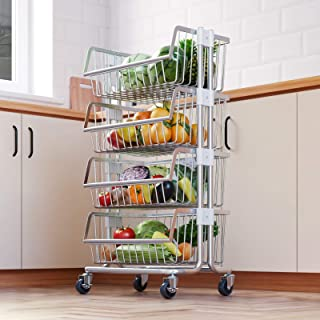 Sponsored Ad - LIVOD 4-Tier Metal Mobile Utility Cart with Caster Wheels, Kitchen Standing Bakers Rack Fruit and Vegetable...