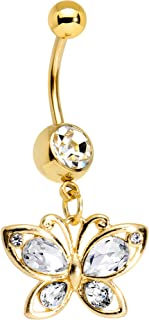 Gold PVD Steel Clear Accent Burst of Color Butterfly Dangle Belly Ring