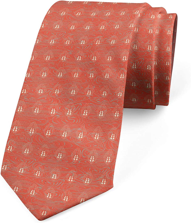 Ambesonne Necktie, Wavy Spirals Leaves Motif, Dress Tie, 3.7