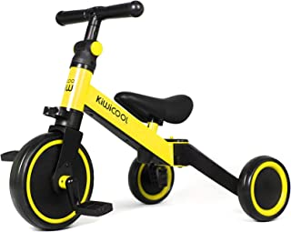 Kiwicool 3 in 1 Kids Tricycles for 1.5-5 Years Old Kids Trike 3 Wheel Bike Boys Girls 3 Wheels Toddler Tricycles (Yellow)