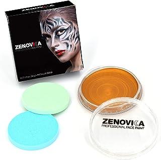 Metallic Gold Face Paint Kit, Large Water Based Paints, Halloween Makeup Kit, Professional Face Paint Palette, Face Paints Safe for Sensitive Skin (Metallic Gold Body Paint 32g /1.13oz)